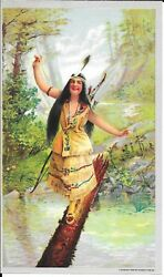 1905 Indian Maiden Art Print - Crossing The Stream On A Log By Hayes Litho