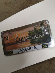 METAL LICENSE PLATE FRAME - WITH COUNTRY FLAG  PRINT.