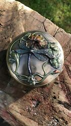 Beautiful Vintage Bronze Coloured Trinket Box With Dragonfly Design