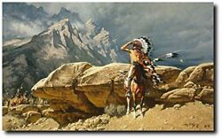 From The Rim By Frank C. Mccarthy - Sioux Warrior - Indian Art Prints