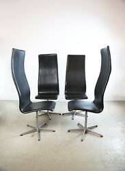 SET OF 4 BLACK LEATHER ARNE JACOBSON OXFORD CHAIRS FOR FRITZ HANSEN