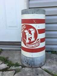 Vtg Big H Equipment Sign Feed Seed Chicken Feeder Metal Galvanized Farm House