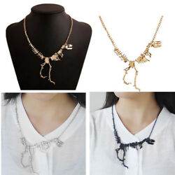 Walking Dinosaur Skeleton T-Rex Statement Necklace Steampunk Gift Punk Jewelry $2.99