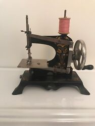 Antique Vintage Casige Childs Metal Sewing Machine With Box And Clamp