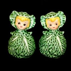 Vintage Lefton Salt And Pepper Cissy Cabbage Cuties Pixie Girl Shakers