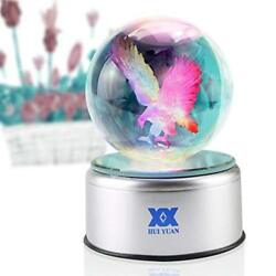 Night 3D Crystal Ball Bald Eagle Statue Figurines Collectibles LED Table Lamp