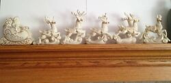 Lenox For The Holidays Dash Away All Santa And His Reindeer Figurines 6 Pc Set