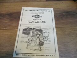 Briggs And Stratton Model 6 Engine Owner, Parts, Service Repair Manual 32pg Gas