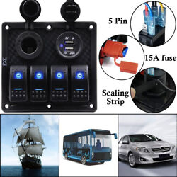 4 Gang Waterproof USB Toggle Automotive Switch Panel LED Car Marine Boat Rocker