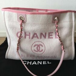 CHANEL Deauville Chain Shoulder Bag Pink Canvas Woman Luxury Auth w Guarantee