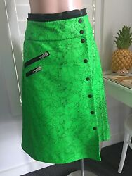 Authentic Rag And Bone New York Neon Cracked Leather Wrap Skirt Sz Us4 Rrp1560
