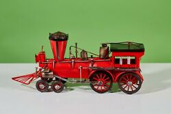 Steam Locomotion Train 1910s Red Collectible Handmade Metal Tin Model For Decor