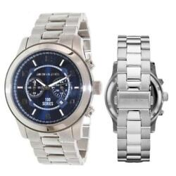 New Michael Kors MK8314 Gent's Chrono Navy Blue Dial Oversized Men;s 45mm Watch
