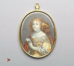 Antique European Miniature Painting Of Maria The Mad Queen Of Portugal Brazil
