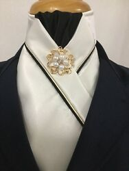 Hhd White Satin Dressage Showjumping Pre-tied Show Stock Black And Gold Piping
