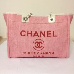 CHANEL Deauville Tote Chain Shoulder Bag Pink Woman Luxury Auth Mint Rare Color