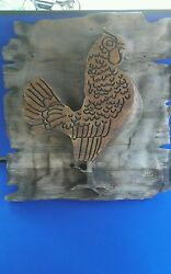 Vintage Folk Art wooden rooster carving wall hanging sign rustic cabin driftwood