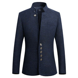 Chinese Tunic Suit Menand039s Business Blazer Coat Single Breaste Stand Collar Jacket