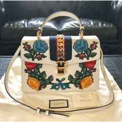 GUCCI Sylvie Hand Shoulder Bag Rose Embroidery 431665 CVL6G White Woman Auth