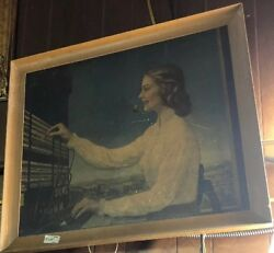 Vintage Lithograph Telephone Operator at the Switchboard Woman