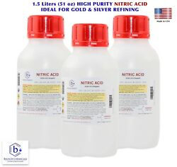 Bausch Nitric 70 Acid Hno3 Value 3-pack Highest Purity Gold And Silver Refining