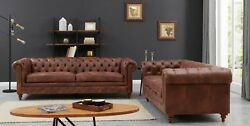 Chesterfield Leather Sofa Settee Brown 3 2 Seater Vintage Couch Luxury Chair