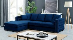 Royal Blue Velvet Luxury Corner Settee Suite Sofa Chair Seater Buttoned Moscow