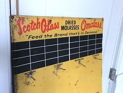 Vtg Advertising Sign Dried Molasses Omalass Seed Cow Pig Chicken Feed Farm Rack