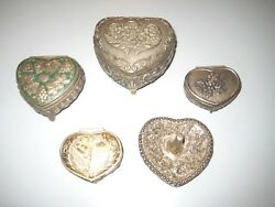 Lot 5 Vintage Ornate Heart Shaped Metal Trinket Ring Boxes Tree Valentines Day
