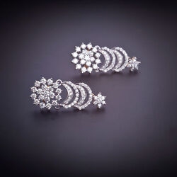 2.20 Cts Round Brilliant Cut Pave Diamonds Stud Earrings In Fine 14k Yellow Gold