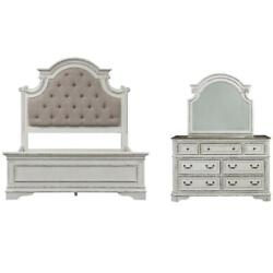 2 Piece Bedroom Set With King Bed And Mirror Dresser In Antique White