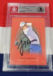 Pop 1 Justin Thomas 2016 Goodwin Champions Royal Red Auto Rc Bgs Auth