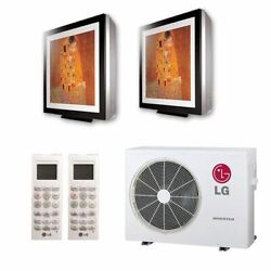 Lg Art Cool Gallery Wall Mounted 2-zone System - 18000 Btu Outdoor - 9k + 12...