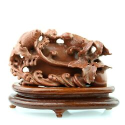 Vintage Hand Carved Natural Galaxy Stone 'fish' Good Luck Chinese Collection