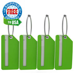 Small Luggage Tags - Fully Bendable Rubber - Privacy Cover & Metal Loop - (4pk)
