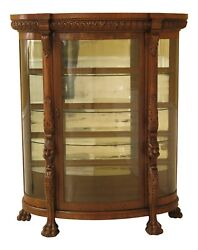 F30481ec Horner Brothers Large Lion Head Oak Bow Front China Cabinet