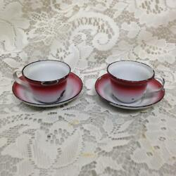 Antique Rare Flow Red - White Enamelware 4pc Childs Cup And Saucer