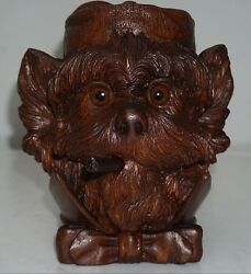 ANTIQUE BLACK FOREST FINE CARVED TERRIER DOG TOBACCO JAR