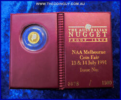 1991 Australian 5 Naa Melbourne Coin Fair Proof Issue 1/10th 24 Ct 999 Proof