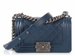 CHANEL Small Navy Quilted Caviar Boy Bag Purse EUC ~ Irresistible appeal!