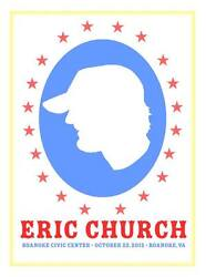 Eric Church 10/25/12 Poster Roanoke Virginia Signed And Numbered 135
