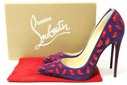 Christian Louboutin So Nail So Kate Purple Suede Red Heel Pump 38.5