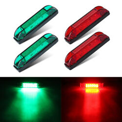 4x Boat Navigation Led Lighting Red/green Waterproof Marine Utility Strip Bar