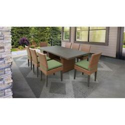 Laguna Rectangular Outdoor Patio Dining Table With 8 Armless Chairs In Cilantro