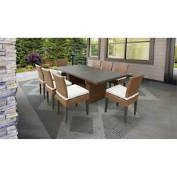 Laguna Rectangular Patio Dining Table With 8 Armless Chairs In Sail White