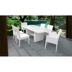 Miami Rectangular Patio Dining Table 4 Armless Chairs 2 Arm Chairs