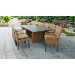 Laguna Patio Dining Table With 6 Armless Chairs And 2 Arm Chairs And Cushions