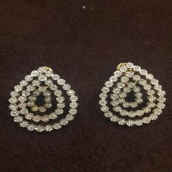 Pave 1.30 Cts Round Brilliant Cut Natural Diamonds Stud Earrings In 14karat Gold