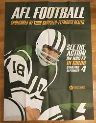 Nbc-tv 1960's Afl Football Promotional Poster Chrysler-plymouth Dealers 24x30