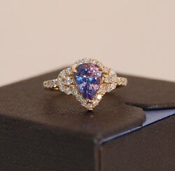 New 14kt Gold Tanzanite And Diamond Ring Sign 7